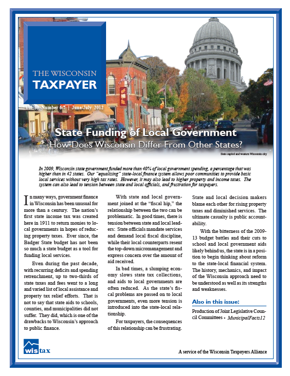 Wisconsin Policy Forum | State Funding of Local Government