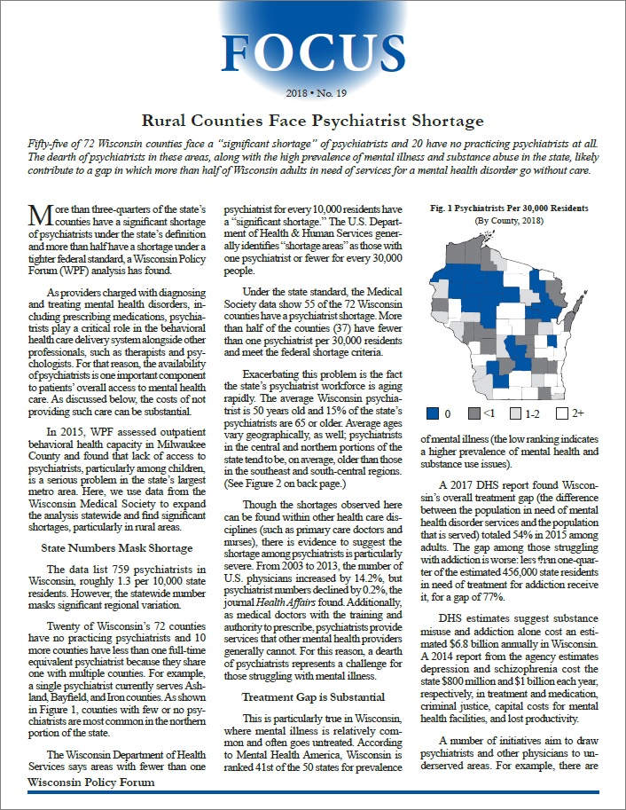 Wisconsin Policy Forum | Rural Counties Face Psychiatrist