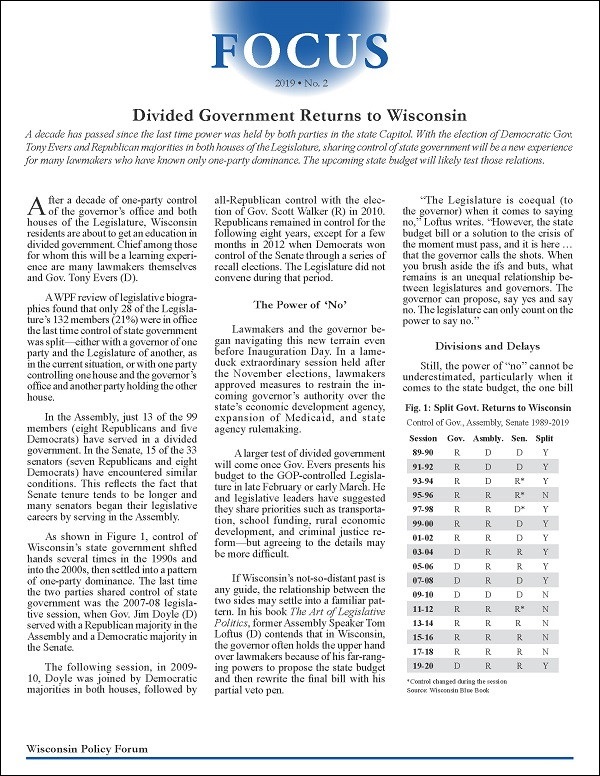 In Difficult And Divided Time New >> Wisconsin Policy Forum Divided Government Returns To Wisconsin